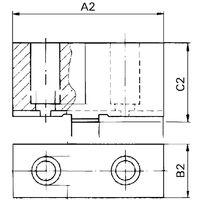Boca Portabrocas de torres, 3 Boca, Boca añadido no escalonados, no templados, Tamaño : 125 mm, Largo A2 62 mm, Ancho b2 26,5 mm, altura C2 : 38 mm