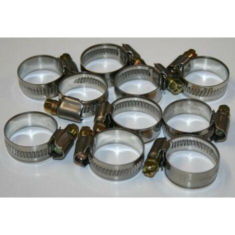 10x Edelstahl W2 Schlauchschelle 12mm breite Inox Schelle 16-27mm