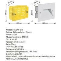 PACK x3 - Faretto segnapasso IP65 esterno da incasso 503 - Sped. Gratis   Bianco - Bianco Naturale 4000K