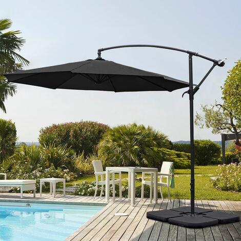 Garden 3M Black Banana Parasol Cantilever Hanging Sun Shade Umbrella Shelter