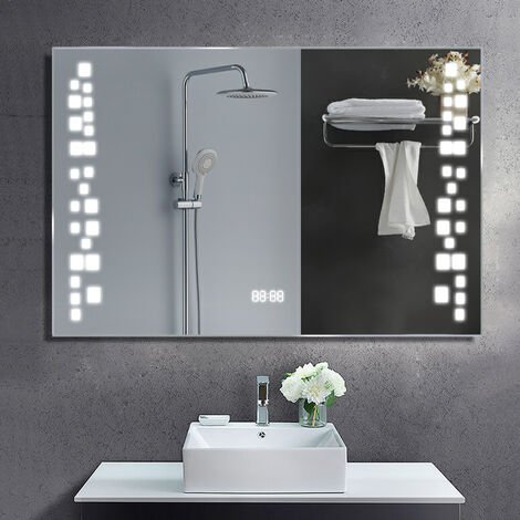 Anti-fog Wall Mounted Mirror, Touch Control Switch with CE Driver,LED Illuminated Bathroom Mirror with Shaver Socket