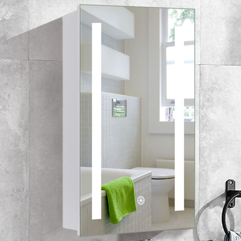 Anti-fog Wall Mounted Mirror Cabinet, Touch Control Switch with CE Driver,LED Illuminated Bathroom Mirror with Shaver Socket