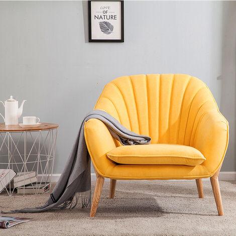 Velvet Scallop Back Armchair Single Sofa Chair, Yellow