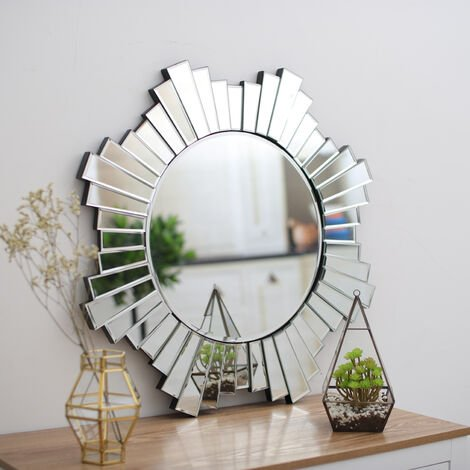 Large Modern 3D Style Wall Mirror Hanging Mirrored Silver Frame 70x70CM Bevelled