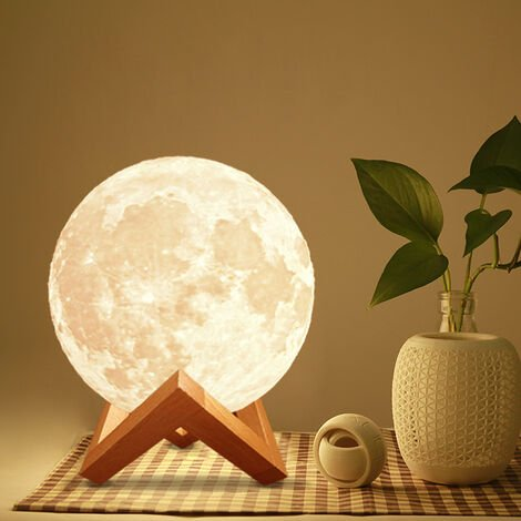 LED Touch Sensor Night Light USB Rechargeable 3D Print Moon Lamp, 8CM