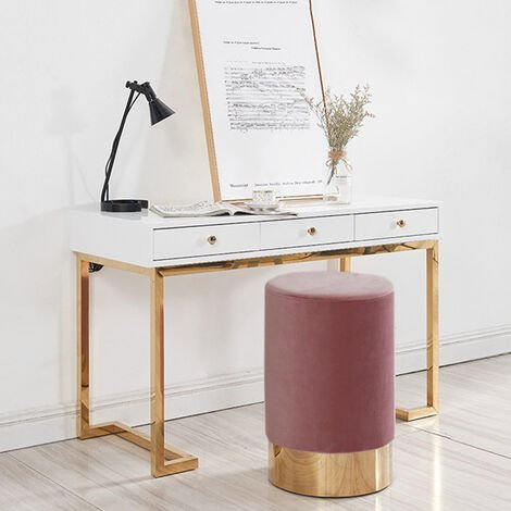 Round Velvet Footstool Footrest Pouffe Stool Ottoman Bedroom Seat Gold Colour Base, Pink