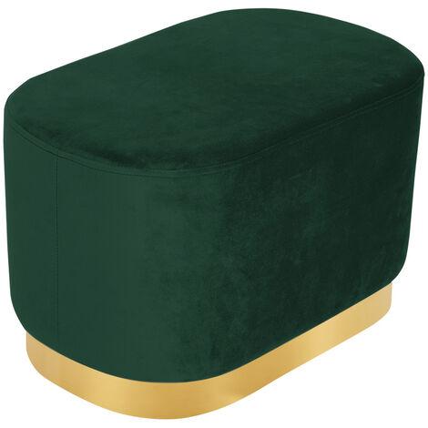 Ottoman Footstool Velvet Oval Pouffe Stool Dressing Table Stool Light, Green