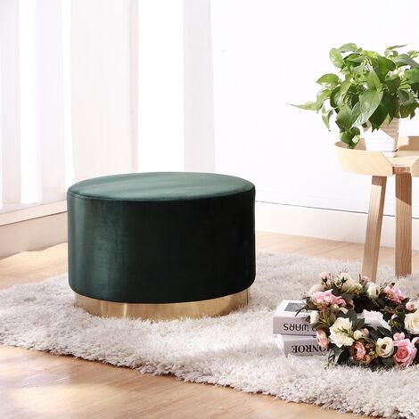Velvet Footstool Ottoman Footrest Stool Round Box Dressing Table, Green