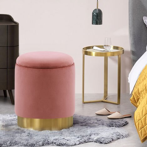 Ottoman Storage Stool Seat Footstool Dressing Table Chair Footrest Pink 36x36x45cm
