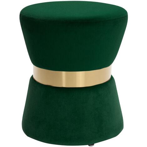 Round Footstool Ottoman Pouffe Seat Foot Stool In Plush Velvet Green
