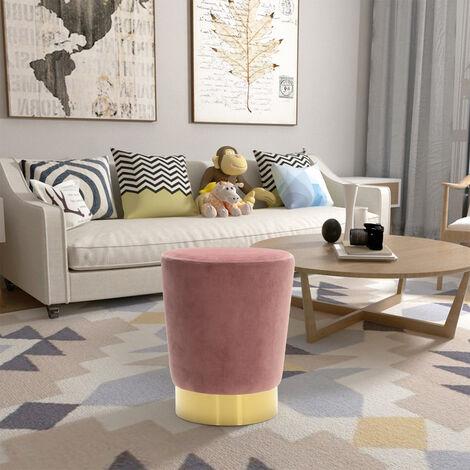 Velvet Ottoman Footstool Gold Surround Stool Seat Pink