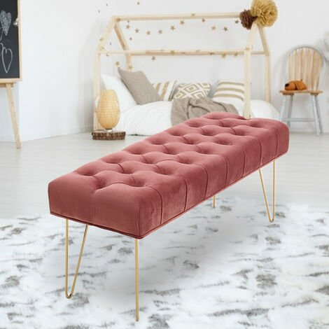 Velvet Footstool Coffee Table Stool Bench Chair Padded Seat Pink
