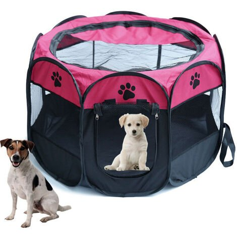 Large Foldable Fabric Pet Play Pen Puppy Dog Cat Rabbit Guinea Pig Run Fence Cage Tent Red