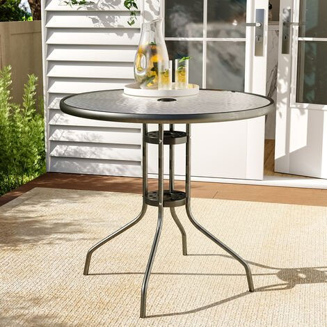Garden Outdoor Large Bistro Dining Glass Table with Parasol Hole Tables 4 Seater 80 x 72 cm