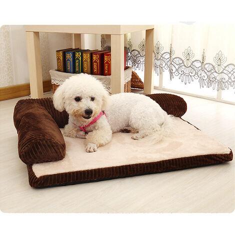 Dog Bed Soft Fleece Fur Cushion Warm Pet Basket Fluff Pad Corner Sofa Coffee 90 x 70 x20 cm