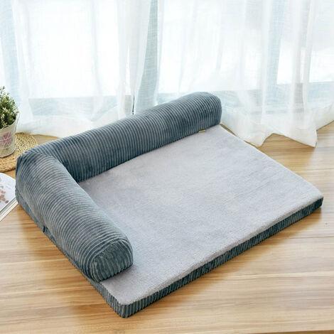 Comfort Pet Dog Bed Warm Soft Puppy Kitten Cushion Basket Grey 90 x 70 x20 cm