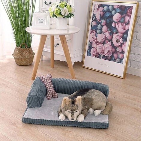 Dog bed made of polyester - cat bed, luxury dog bed, pet bed - Grey 105 x 90 x20 cm