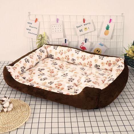 Washable Pet Puppy Cat Dog Bed Cushion Kennel Basket Mat Mattress Beige 45 x 30 x 12 cm