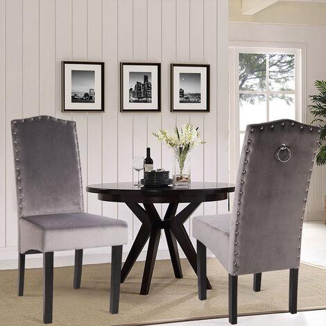 2pcs Studded High Back Dining Chair Velvet Knocker Ring Kitchen Dinner Chairs Grey