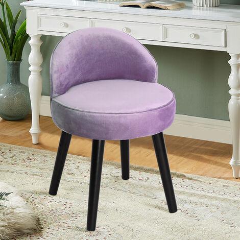 Velvet Dressing Table Stool Vanity Bedroom Chair Upholstered Backed Chairs Purple