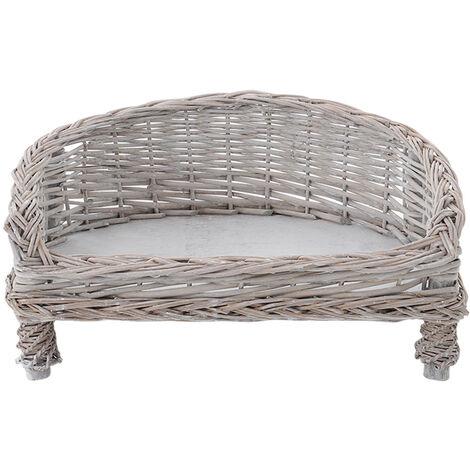 Handmade Wicker Pet Bed Willow Dog Cat Sofa Puppy Basket