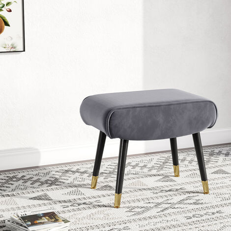 Velvet Footstool Footrest Dressing Table Stool Side Chair Piano Seat Grey
