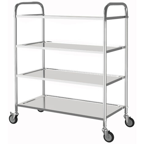 Stainless Steel 4 Tier Rolling Kitchen Service Cart Catering Trolley 85L x 45D x 117H (cm)