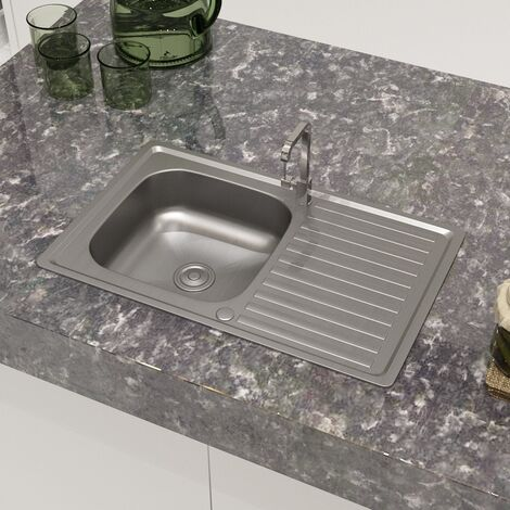 Kitchen Sink Single Basin with Drainer Reversible Silver