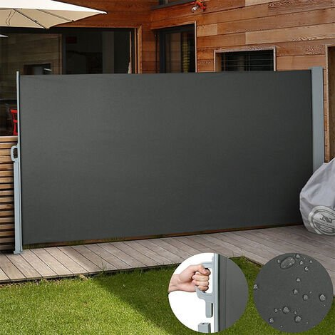 Patio Retractable Side Awning 160 x 300 cm Grey