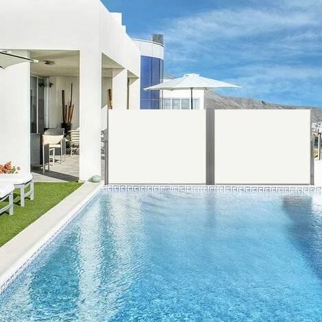 Retractable double side awning privacy screen - privacy screen, garden privacy screen, patio awning - beige, 160 x 600 cm
