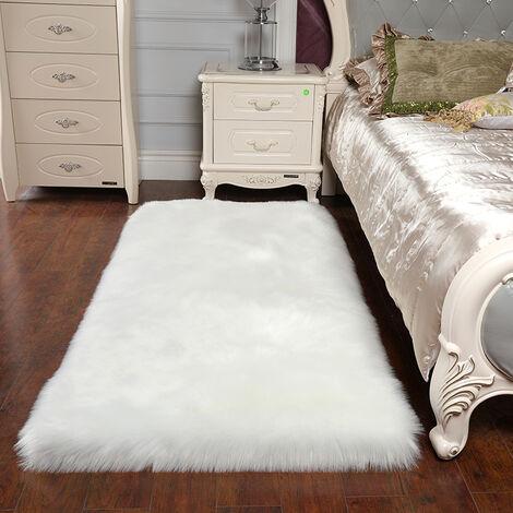 Rectangle White Faux Fur Sheepskin Non Slip Fluffy Floor Rugs, 60x90CM