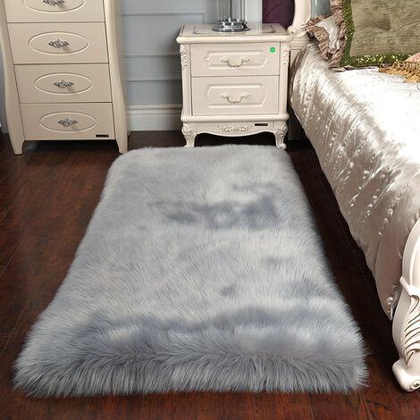 Rectangle Grey Faux Fur Sheepskin Non Slip Fluffy Floor Rugs, 60x90CM