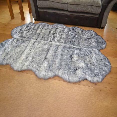 180x110CM Soft Fluffy Fur Non Slip Sheepskin Rug Seat Cushion Floor Mat, White&Grey