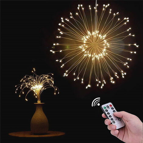 Hanging Firework LED Fairy Lights 8 Modes Remote Control Christmas Party Decor, 100LED