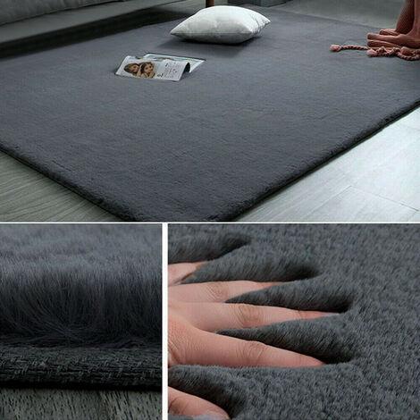 Super Soft Large Faux Rabbit Fur Rug Shag Carpet, Dark Grey 60x90CM
