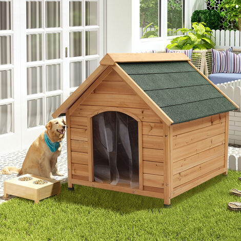 Large Dog Kennel Wooden Pet House Outdoor Apex Roof Timber Shelterm, Medium