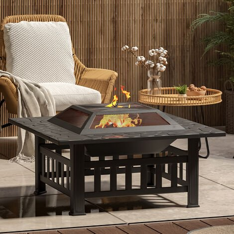 81CM Garden Fire Pit Brazier Patio BBQ Firepit Table with BBQ Grill