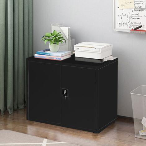 3 Tier Office Filing Cabinet Metal Storage Cupboard Locker Shelf, Black