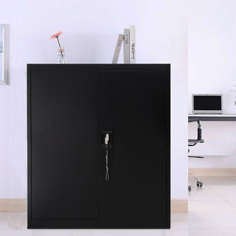 4 Tier Office Filing Cabinet Metal Storage Cupboard Locker Shelf, Black
