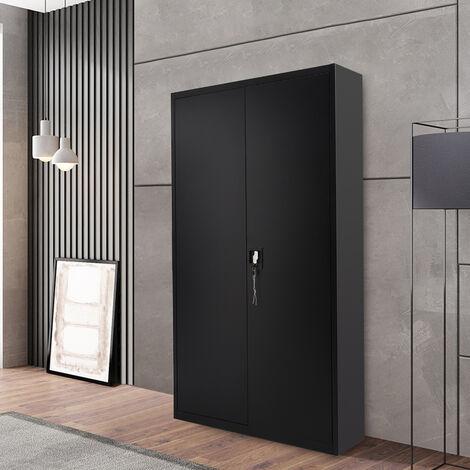 5 Tier Office Filing Cabinet Metal Storage Cupboard Locker Shelf, Black