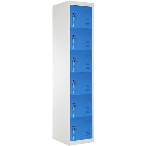 6 Door Locker Cabinet Metal Storage Shelf Cupboard