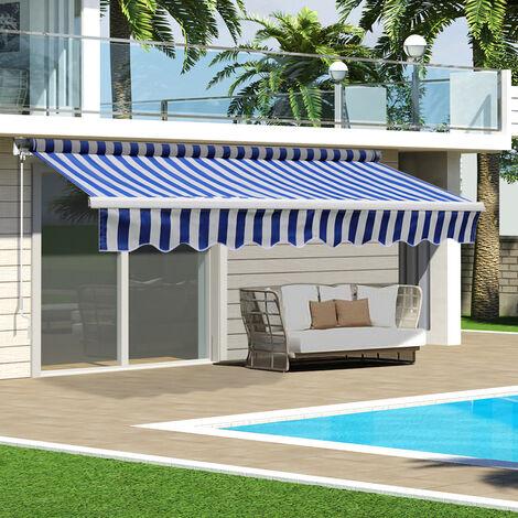 Blue&White Retractable DIY Manual Patio Awning Canopy Garden Shade Shelter, 350x300CM