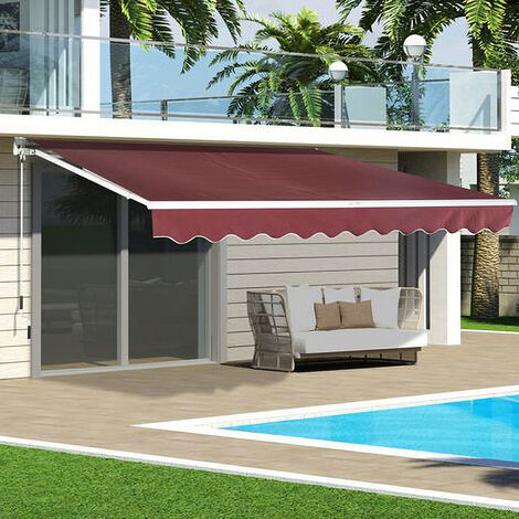 Wine Red Retractable DIY Manual Patio Awning Canopy Garden Shade Shelter, 200x150CM