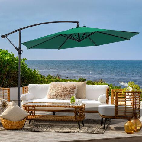 3M Large Garden Hanging Parasol Cantilever Sun Shade Patio Banana Umbrella No Base, Dark Green