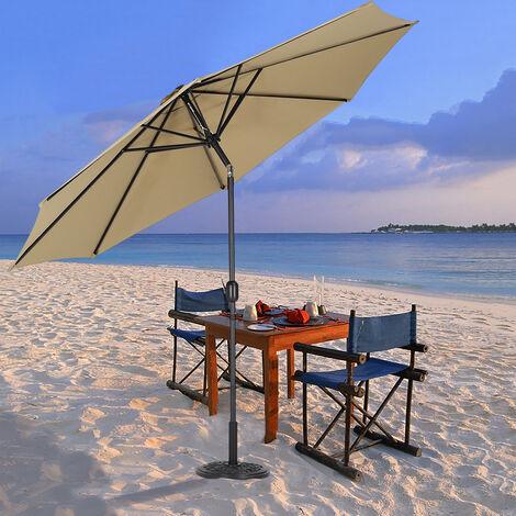 3M Large Round Garden Parasol Outdoor Beach Umbrella Patio Sun Shade Crank Tilt No Base, Taupe