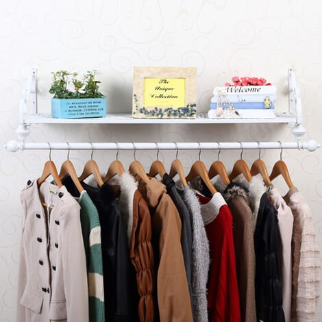 Clothes Rail Wall Mounted Garment Hanging Rack with Shelf Iron Display Storage