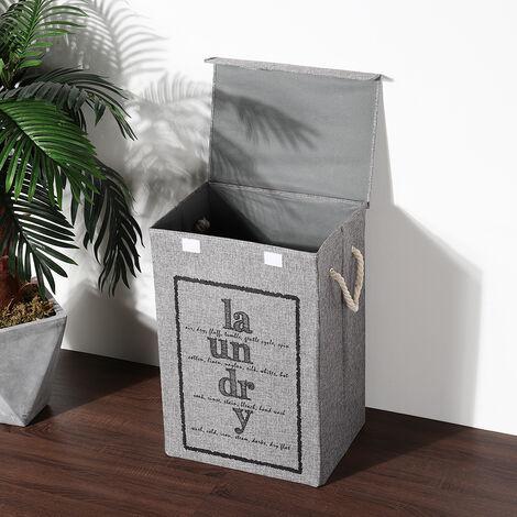 Grey Fabric Foldable Laundry Hamper Basket with Lid Clothes Storage Bag Sorter Bin