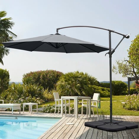 Garden 3M Dark Grey Banana Parasol Cantilever Hanging Sun Shade Umbrella Shelter