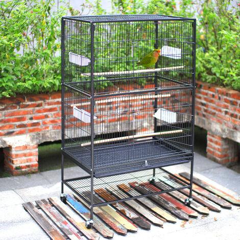 Large Wheeled Metal Bird Cage Freestanding Hutch Shelf
