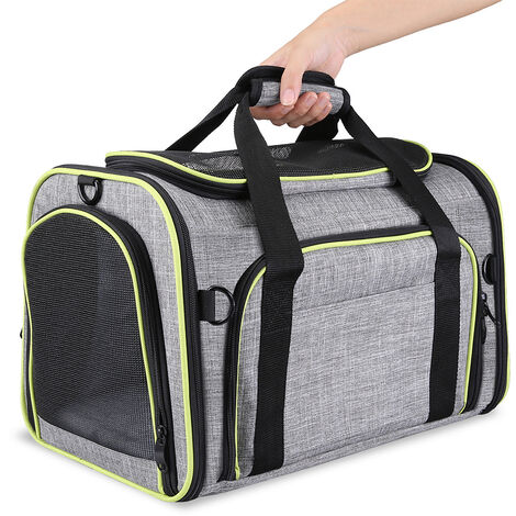Pet Carrier Folding Bag Car Seat Cat Dog Puppy Kennel Portable Travel Cage Tote Case Mesh Holder House Grey